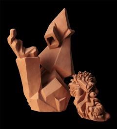 Uomo e mela - Corpo 50x30x38 cm, testa 25x20x20 cm, 2000)