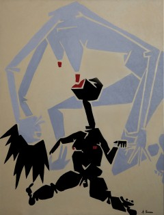 Fame nel mondo olio su tela cm120x90 - 1999